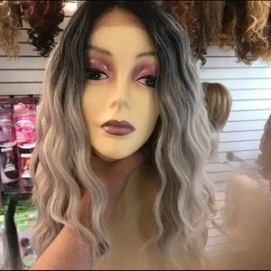Accessories - Grey ombré lacefront wig Long Deep Wave 2019 style